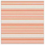 [ Thumbnail: Coral and Bisque Stripes Pattern Fabric ]