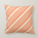 [ Thumbnail: Coral and Bisque Stripes Pattern Throw Pillow ]