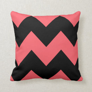 Coral and Black Chevron Pattern Throw Pillow