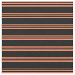 [ Thumbnail: Coral and Black Colored Pattern of Stripes Fabric ]