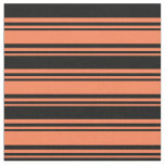 [ Thumbnail: Coral and Black Colored Striped/Lined Pattern Fabric ]