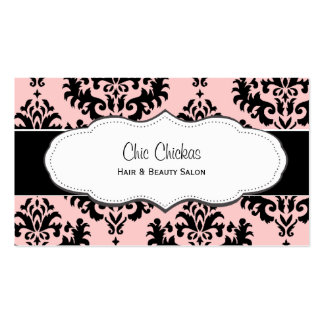 Coral and Black Damask Business Cards