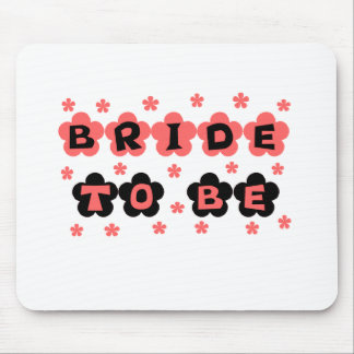 Coral and Black Flowers Bride to Be Mouse Pad
