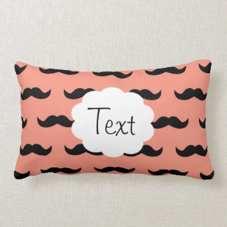 Coral And Black Moustache Pattern Pillow