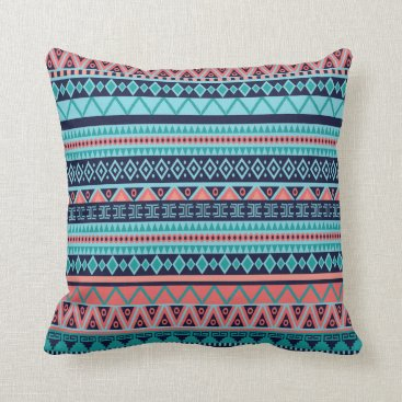 Aztec Themed Coral and Blue Aztec Tribal Pillow