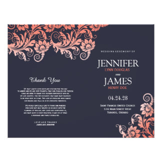 Coral and Blue Blooming Elegance Wedding Programs