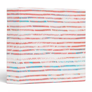 Aztec Themed Coral and Blue Boho Aztec Striped Pattern Binder