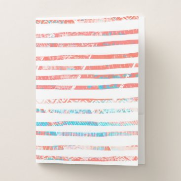 Aztec Themed Coral and Blue Boho Aztec Striped Pattern Pocket Folder