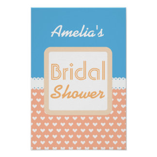Coral and Blue Heart Theme Bridal Shower C01 Poster