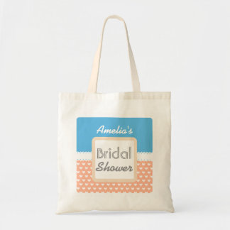 Coral and Blue Heart Theme Bridal Shower C01 Tote Bag