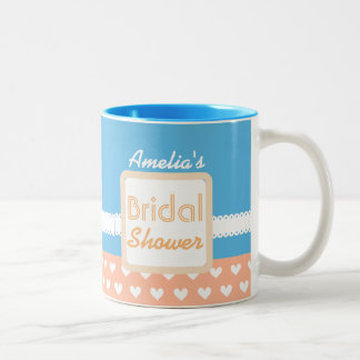 Coral and Blue Heart Theme Bridal Shower C01 Two-Tone Coffee Mug