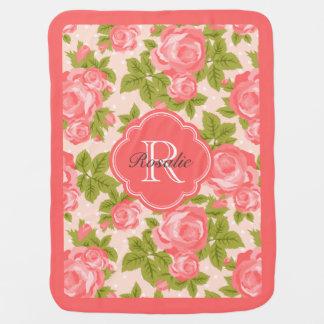 Coral and Blush Vintage Roses Monogram Receiving Blanket