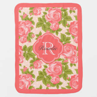 Coral and Blush Vintage Roses Monogram Stroller Blanket
