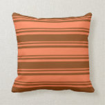 [ Thumbnail: Coral and Brown Colored Lined/Striped Pattern Throw Pillow ]