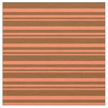 [ Thumbnail: Coral and Brown Colored Lines Pattern Fabric ]