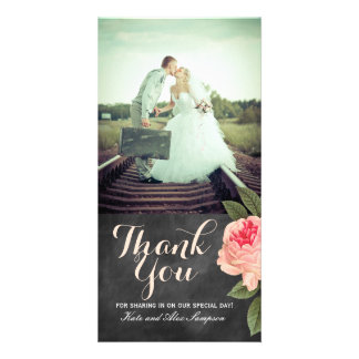 Coral and Chalkboard Thank You Photo Card (4x8)