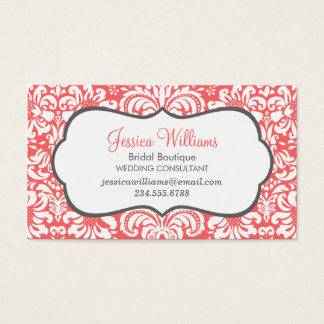 Coral and Charcoal Elegant Floral Damask Business Card