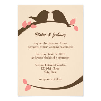 Coral and Chocolate Love Birds Wedding Invitations