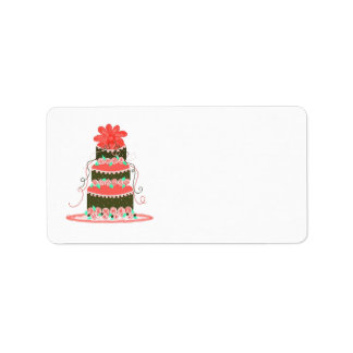 Coral and Chocolate Wedding Cake Label