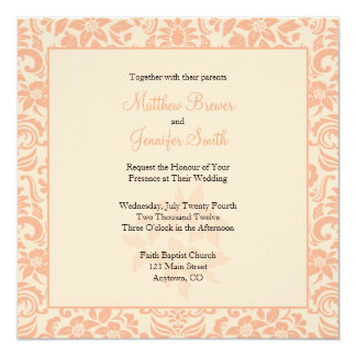 Coral and Cream Damask Wedding Invitation