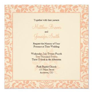 Coral and Cream Damask Wedding Invitation Custom Invite