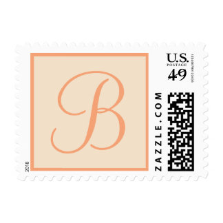 Coral and Cream Monogrammed Custom Postage Stamp Postage