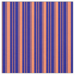 [ Thumbnail: Coral and Dark Blue Colored Pattern Fabric ]