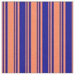 [ Thumbnail: Coral and Dark Blue Colored Stripes Pattern Fabric ]