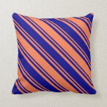 [ Thumbnail: Coral and Dark Blue Colored Stripes Pattern Pillow ]