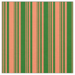 [ Thumbnail: Coral and Dark Green Colored Pattern Fabric ]