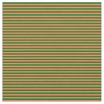 [ Thumbnail: Coral and Dark Green Colored Striped Pattern Fabric ]