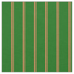 [ Thumbnail: Coral and Dark Green Colored Stripes Fabric ]