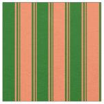 [ Thumbnail: Coral and Dark Green Pattern Fabric ]