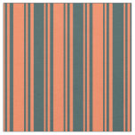 [ Thumbnail: Coral and Dark Slate Gray Lines Fabric ]