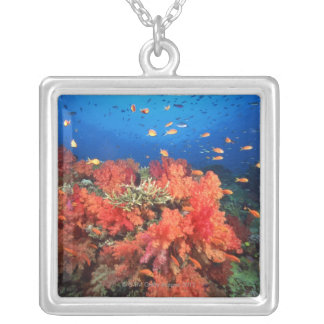 Coral and fish square pendant necklace