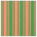 [ Thumbnail: Coral and Forest Green Lined Pattern Fabric ]