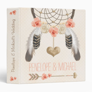 Coral and Gold Boho Dreamcatcher Wedding Planner 3 Ring Binder