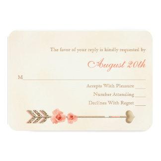 Coral and Gold Boho Dreamcatcher Wedding RSVP Card