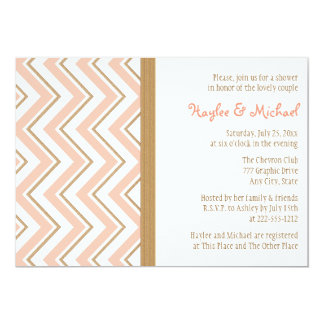 Coral and Gold Chevron Couples Wedding Shower Card