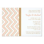 """Coral and Gold Chevron Couples Wedding Shower 5"""" X 7"""" Invitation Card"""