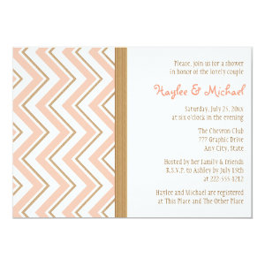 Coral and Gold Chevron Couples Wedding Shower 5x7 Paper Invitation Card