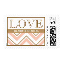 Coral and Gold Chevron Love Wedding Postage