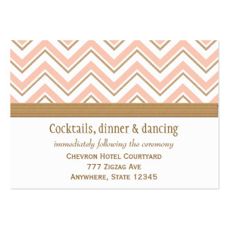 Coral and Gold Chevron Reception Enclosure Cards Business Card