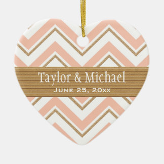 Coral and Gold Chevron Wedding Ornament Favors