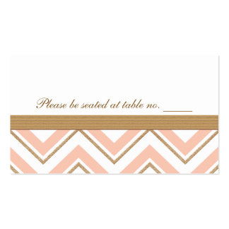 Coral and Gold Chevron Wedding Table Place Card Business Card Template
