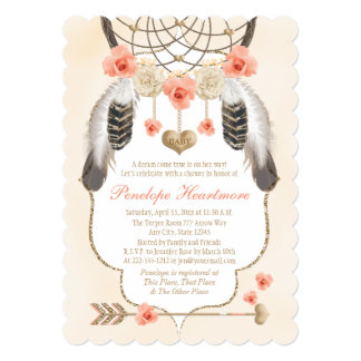 Coral and Gold Dreamcatcher Boho Baby Girl Shower Card
