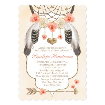 Valentines Themed Coral and Gold Dreamcatcher Boho Baby Girl Shower Card