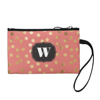 Coral and Gold Glitter Dots Custom Monogram Coin Purses