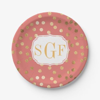 Coral and Gold Glitter Dots Paper Plate 7 Inch Paper Plate