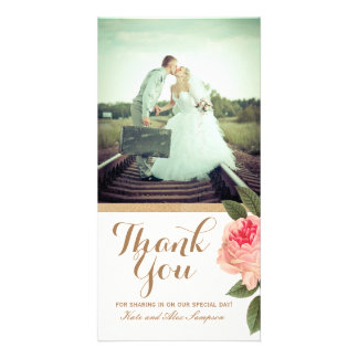 Coral and Gold Glitter Thank You Photo Card (4x8)